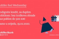 Akcija Addiko Red Wednesday: Kredit bez troškova obrade i uz poklon do 500 KM
